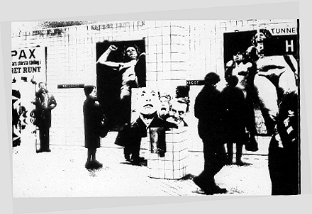 Conceptual Outdoors exhibition Subway station Stockhom. From the TV experiment 1965. SRTV. Canvas, Silkscreen, Silver and White. 70x100 cm.1965.